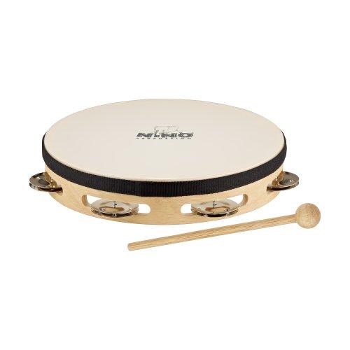 Nino Percussion NINO47 Holztamburin mit Fell 20,3 cm (8 Zoll) einreihig