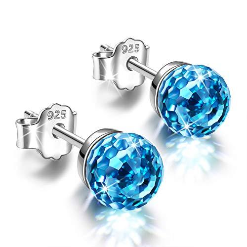 Alex Perry 6mm Ohrringe Silber 925 Geschenke für Frauen Kristalle Ohrstecker für Mädchen Geschenk Blau...