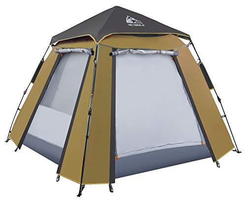 Hewolf Kuppelzelt 3-4 Personen Wurfzelt Pop up Zelt Automatisches Camping Wasserdichtes Zelt mit 2 Türen...