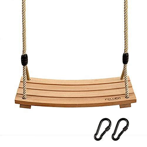 PELLOR Garten Schaukel Erwachsene Kinder Holz Schaukelsitz bis 100 kg mit Einstellbares Seil für Innen...