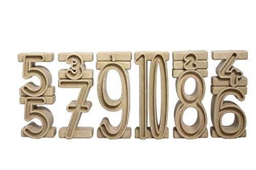 Wissner aktiv lernen R80021.000 - RE Wood 34 Stapelzahlen natur, Montessori Lernspielzeug, Zahlen zum...