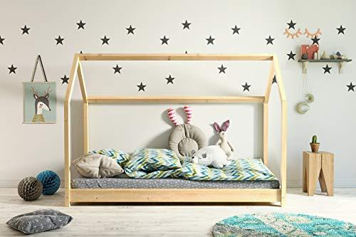 Kinderbett Holzbett Hausbett Spielbett 90x200, 80x180, 80x160 Haus Holz mit Lattenrost für Mädchen und...
