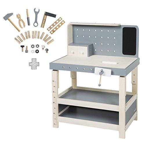 roba 97211 Werkbank, Spielwerkbank aus Holz, umfangreiches Werkzeug-Set, große Arbeitsplatte, Ablage, 3...