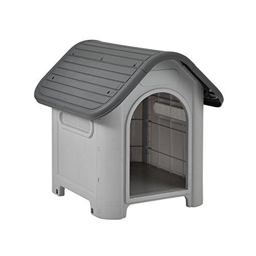 [en.casa] Hundehütte mit Dachluke 75x59x66cm PVC Grau Schwarz Unterschlupf Hundehaus Kunststoff