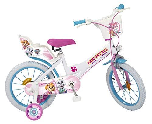 Toimsa 16' 16 Zoll Disney Kinder Mädchen Fahrrad Kinderfahrrad Mädchenfahrrad Rad Bike Paw Patrol Weiss...