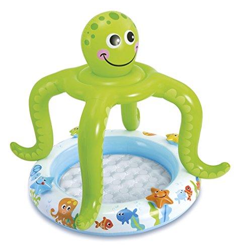 Siva Toys Baby-Pool mit lächelndem Oktopus als Schattenspender 1,02 x 1,04 m Mehrfarbig