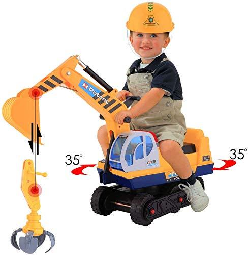 Smibie Bagger | Sitzbagger mit Helm und Zwei Grabs , Kinderfahrzeug zum Draufsitzen für Kinder ab 3...