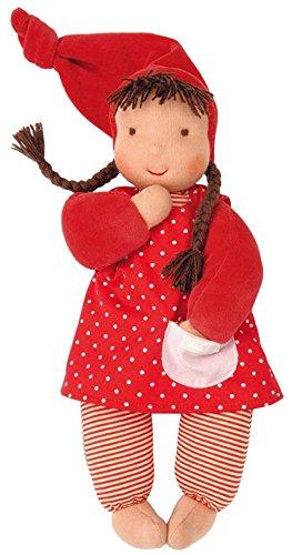 Käthe Kruse Stoff-Baby Puppe Schatzi mit Zipfelmütze in der Farbe Rot