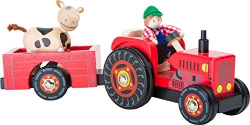 """Small Foot 10316 Traktor mit Anhänger """"Bauernhof"""" aus Holz,mit Biegepuppen Bauer und Kuh und..."""