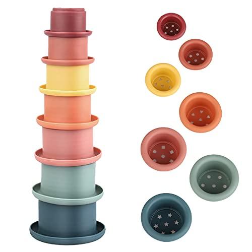 FORMIZON Stapelbecher, 7 Stück Kinder Badewannenspielzeug, Baby Badespielzeug und Spielzeug Bauen,...