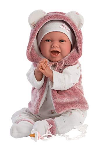 Llorens 1074070 L Puppe Mimi, mit blauen Augen und weichem Körper, Babypuppe inkl. rosa Outfit,...