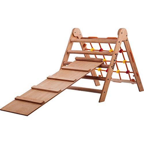 RINAGYM-Kletterdreieck-Indoor-Leiter mit Kletternetz und Rutche- Holzrahmen für Kinder, fördert das...