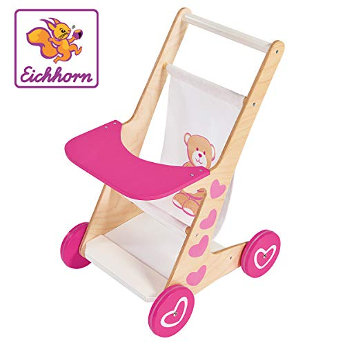 Eichhorn 100002596 EH Puppenwagen-100002596 Puppenwagen mit Sitzfläche aus Stoff, geeignet für Puppen...