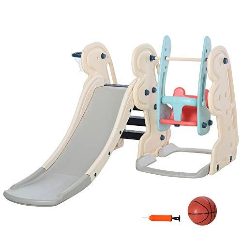 HOMCOM 3-in-1 Kinderrutsche Kinder Rutsche mit Basketballkorb, Schaukel, Leiter Spielzeug Slide...