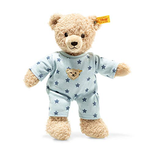 STEIFF Teddy and Me Teddybär Junge Baby mit Schlafanzug - 25 cm - Teddybär mit blauem Schlafanzug -...