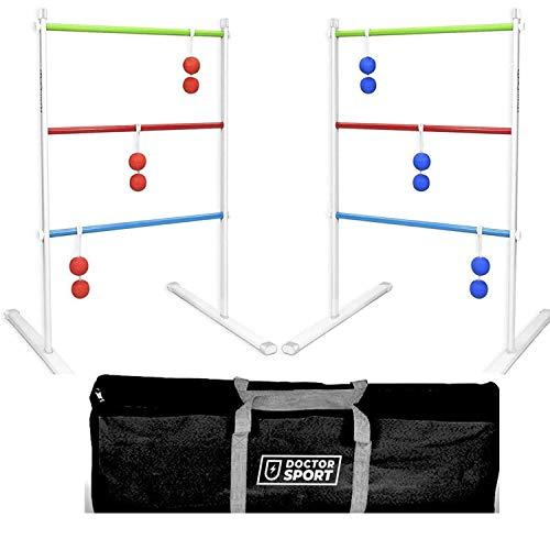 Doppel Leitergolf Spiel Set Silbermetall - echte GolfBolas in der Tasche - Laddergolf USA - Stark Stabil...