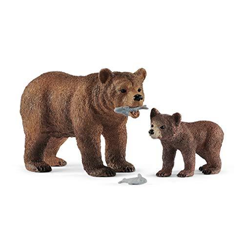 Schleich 42473 - Grizzlybär-Mutter mit Jungem