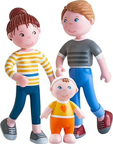 HABA 306145 - Little Friends – Spielset Familie, Biegepuppen & Tiere ab 3 Jahren