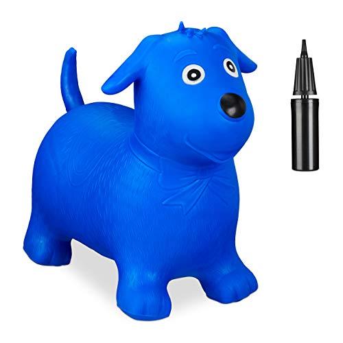Relaxdays 10030899_45 Hüpftier Hund, inklusive Luftpumpe, Hüpfhund bis 80 kg, Hopser BPA frei, für...