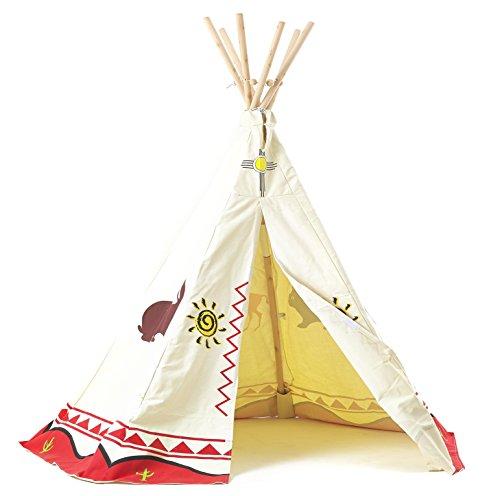 Tipi Spielzelt für Kinder Wigwam Spiel-Zelt Indianerzelt Indianer, Holzstangen und Baumwolle, Garden...