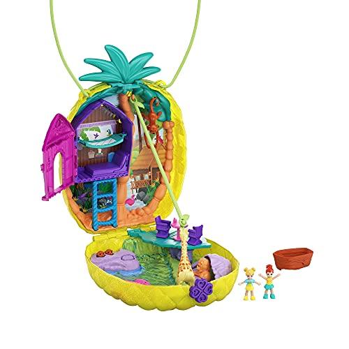 Polly Pocket GKJ64 - Ananas Tasche, tragbare Schatulle mit Zubehörteilen, Spielzeug ab 4 Jahren