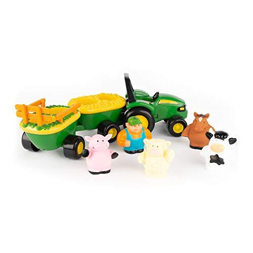 John Deere Heuwagen mit Tiergeräuschen, Spielzeuganhänger mit Bauer und 4 Tieren zum Spielen für...