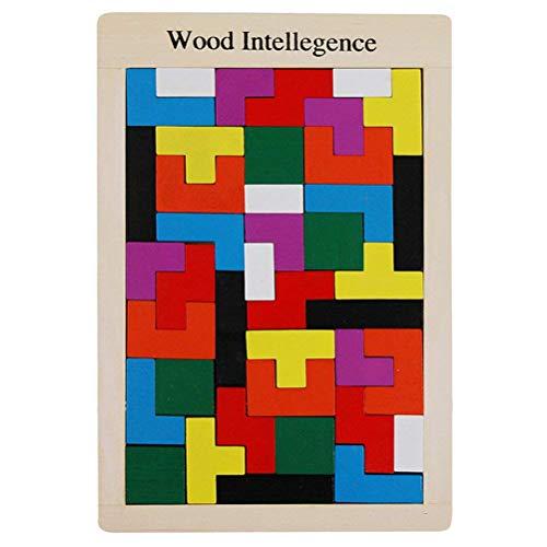 40 Stück Tetris Holzpuzzle Spielzeug Geometrisch Formen Tetris Tangram Holzpuzzles Lernspiele Baustein...