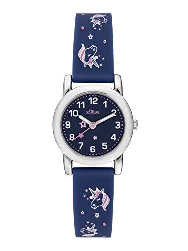 s.Oliver Mädchen Analog Quarz Uhr mit Silikon Armband SO-3915-PQ