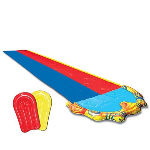 BANZAI Speed Doppel Wasserbahn Duell Wasserrutsche 487 cm mit Sprinkler und 2 Bodyboards