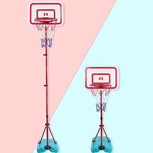 TONZE Basketballkorb Outdoor Indoor mit Stabiler und Höhenverstellbar Ständer Sportgeräte mit Bälle...