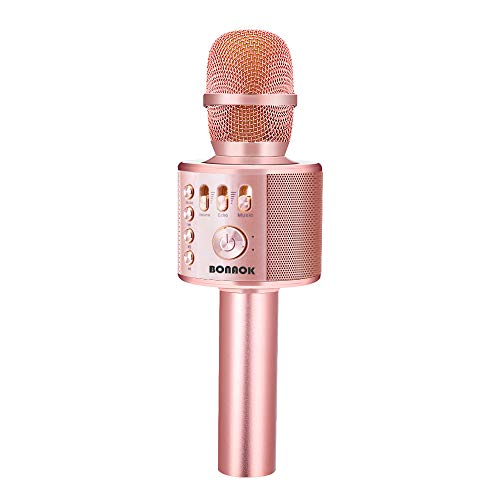 BONAOK Drahtloses Bluetooth Karaoke Mikrofon, Tragbares 3 in 1 Karaoke Handmikrofon Geburtstagsgeschenk...