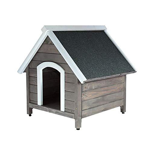 UNUS Hundehütte Outdoor Garten, Hundehaus aus Holz mit Spitzdach, Holzhütte für kleine und mittlere...