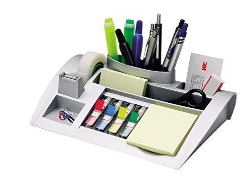 Post-it C50 Tisch-Organizer silber-metallic – Schreibtisch Organizer mit 7 Fächern inkl. Post it...