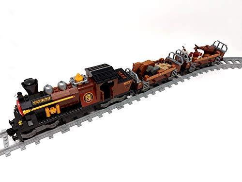 Brigamo Bausteine Eisenbahn Western Zug Viehtransporter mit 2 Waggons und Schienen