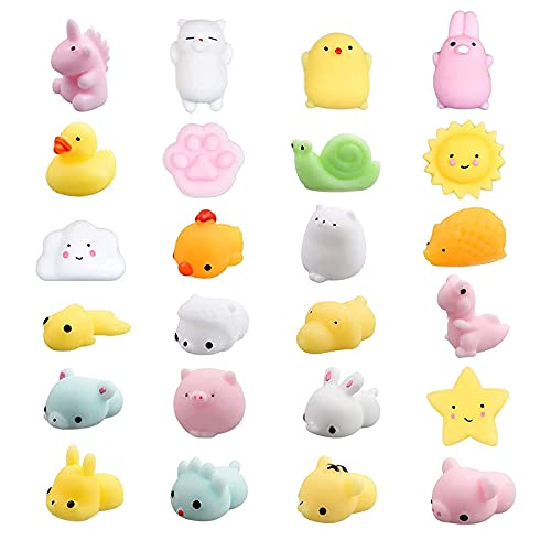 vita dennis Squishy Kawaii Set, 24 Stück Mini Tiere Relief Stress Squeeze Soft Silikon Party Netter...