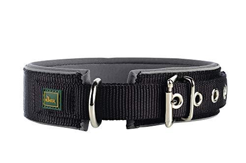 HUNTER NEOPREN REFLECT Hundehalsband, Nylon, Neopren gepolstert, reflektierend, 60 (L), schwarz/grau
