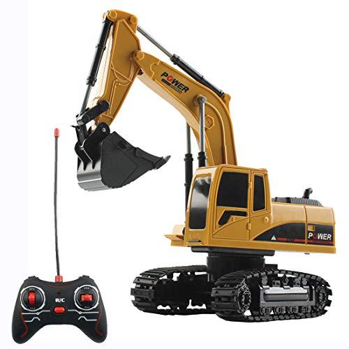 HYMAN Ferngesteuertes Bagger, 1:24 Maßstab 5CH RC Baufahrzeug Fahrzeug Bauspielzeug mit Licht für...