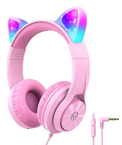 iClever Kinder Kopfhörer für Kinder, Mädchen IC Pink LED Light Up Wired Folded Headphones Over Ear mit...
