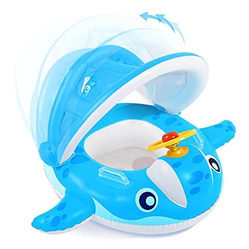 Peradix Baby Schwimmring, Baby Schwimmen Schwimmtrainer mit abnehmbarem Sonnendach, Kinderboot Schwimmer...