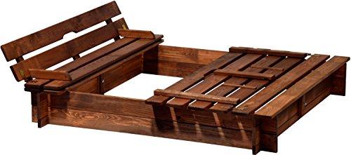 dobar 94360FSC Sandkasten Holz mit Deckel mit Sitzbank, Sandkiste Bank groß XL viereckig mit Abdeckung