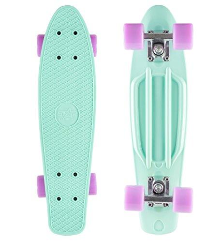 BIKESTAR Vintage Retro Cruiser Skateboard 60mm für Kinder und Erwachsene auch Anfänger ab ca. 6 - 8...