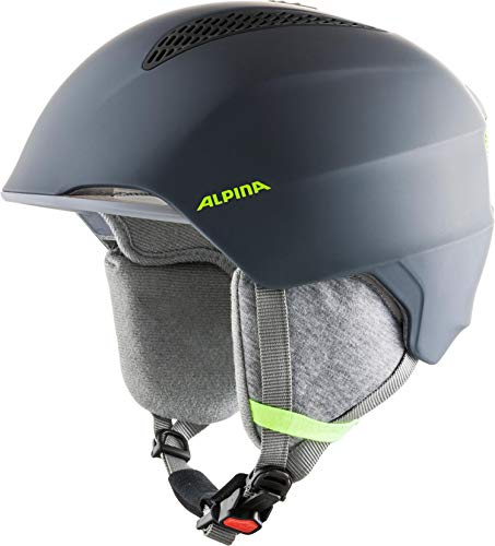 ALPINA GRAND JR Skihelm, Kinder, charcoal-neon yellow, 54-57