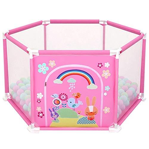 deAO Baby- und Kleinkinder Laufstall und Bällebad-Set mit 50 bunten Bällen für den Innenbereich (ROSA...