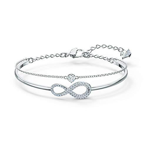 Swarovski Infinity Armreif, Rhodinierter Damenarmreif mit Unendlichkeitssymbol und Funkelnden Swarovski...