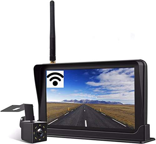 Yakola F4 Wireless Backup Kamera-Kit,Rückfahrkamera drahtlos, IP69 Wasserdicht LED Super Nummernschild...
