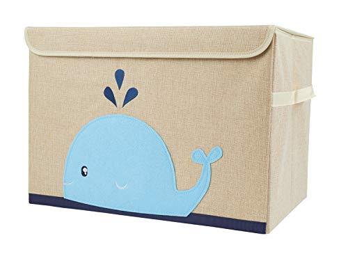 Bieco Aufbewahrungsbox mit Deckel | Wal Motiv 65L faltbar | ca. 36x36x51cm | Spielzeugkiste mit Deckel |...