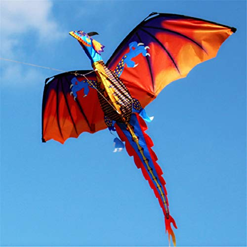Wankd Kinderdrachen Bunt 3D Kinder Drachen Kite 120 * 140cm Long Tail lebensechte Dinosaurier Kite...