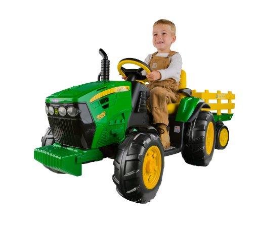 John Deere Ground Force: Kinder Elektro Traktor von Peg Perego mit Anhänger