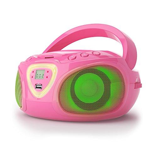 auna Roadie CD-Player - CD-Radio, tragbar, Boombox, LED-Beleuchtung, USB, MP3, UKW Radiotuner, Bluetooth,...