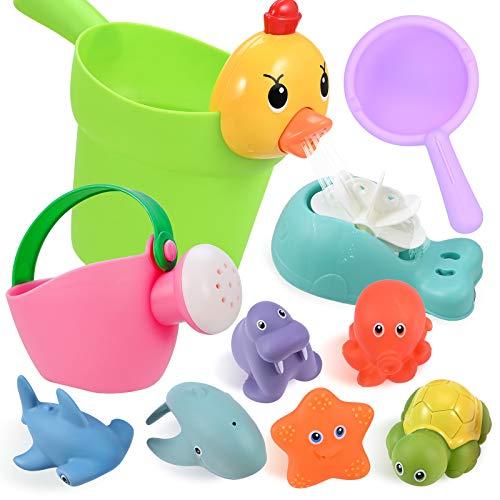GOLDGE 10Pcs Badewannenspielzeug für Baby ab 1 Jahre, Badespielzeug Wasserspielzeug Baby mit BPA-frei...